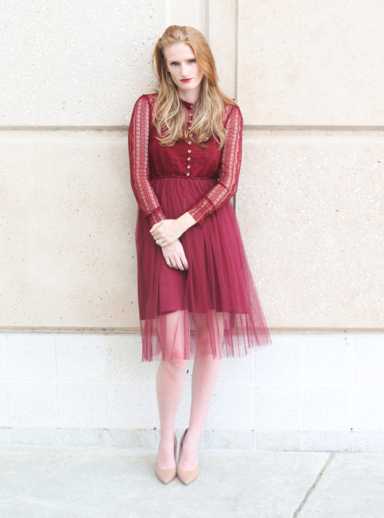 camel and maroon outfit
