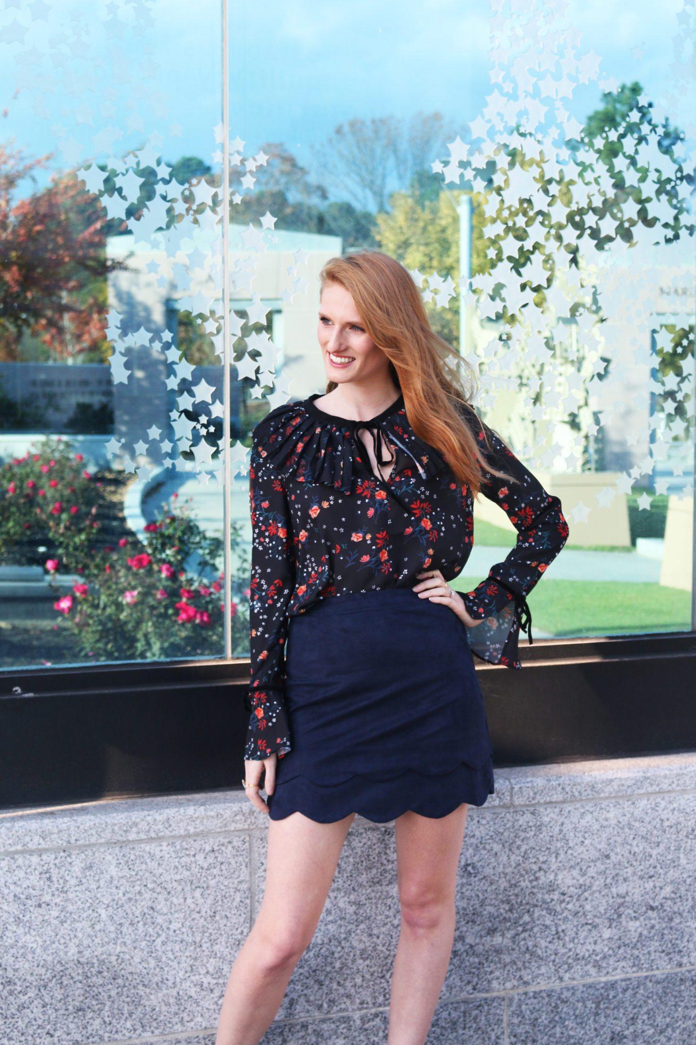 Navy Blouse Scalloped Skirt