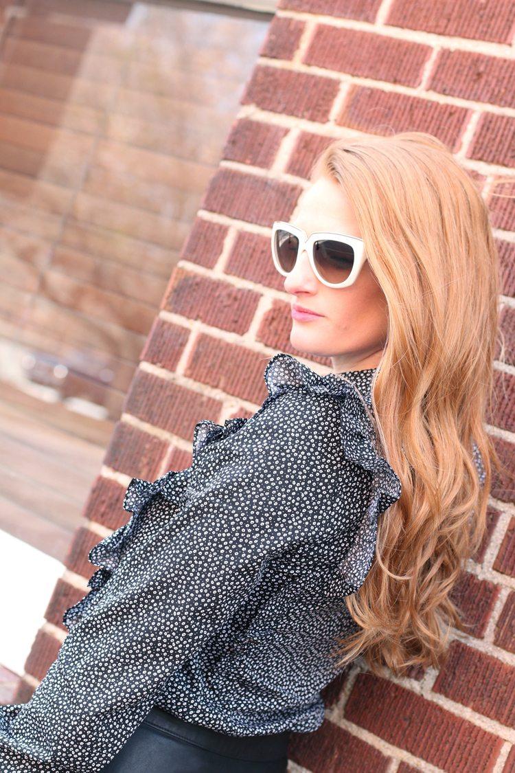 ruffle blouse leather skirt