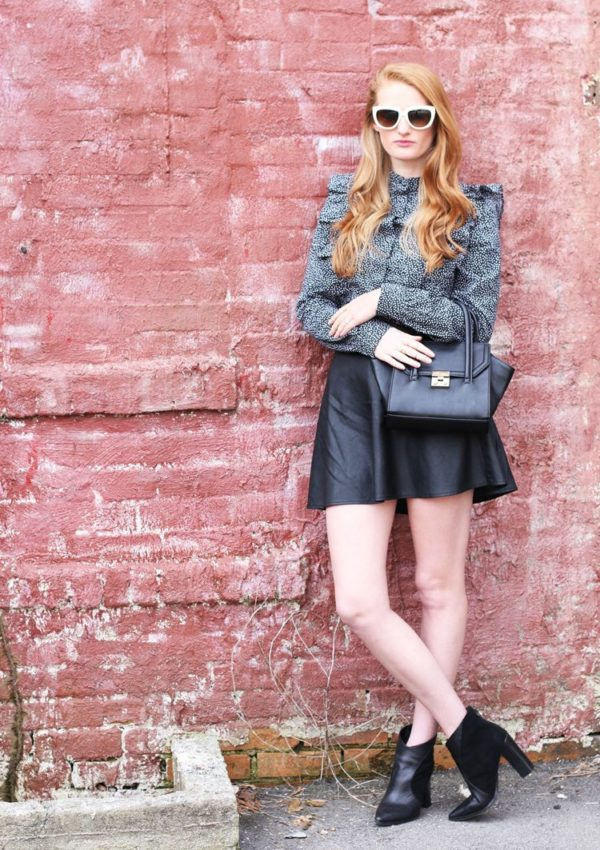 Ruffle Blouse, Leather Skirt and a Life Update