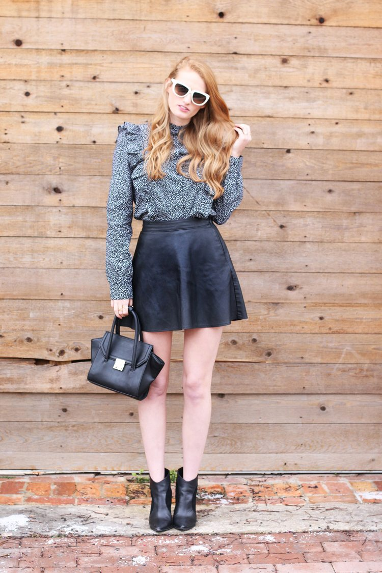 ruffle blouse leather skirt