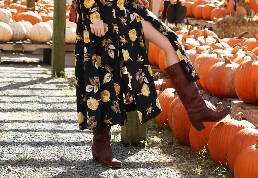 nakd fashion maxi dress fall style autumn pumpkin patch frye boots