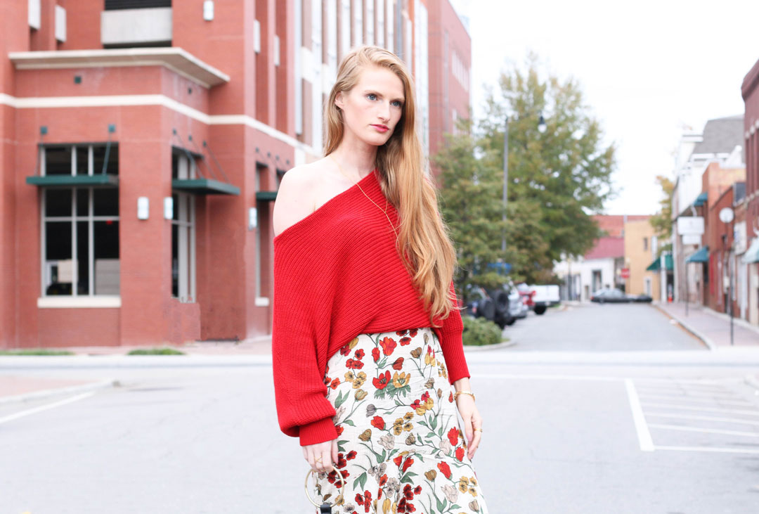 Cozy Off The Shoulder Sweater. Midi Skirt. Floral Skirt. Fall Style. Christmas sweater. Thanksgiving outfit. Holiday style. Black booties. Ring bag. Chunky sweater.