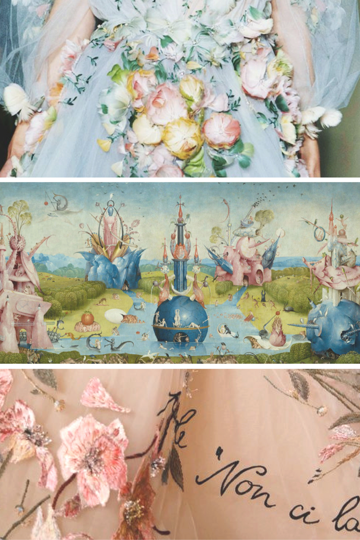 The ethereal theme of Hieronymus Bosch's fantastical utopia in The Garden of Earthly Delights fits perfectly with the aesthetics of brands such as Gucci, Marchesa and Valentino.
