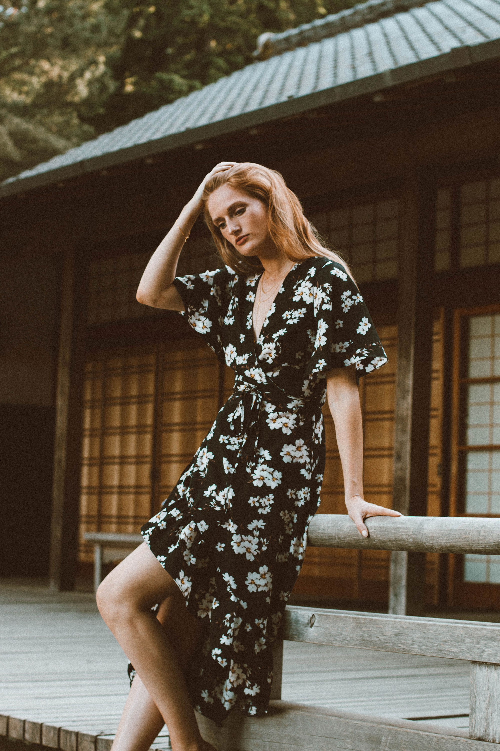 Floral Wrap Dress at the Portland Japanese Garden • Stop, Drop & Vogue