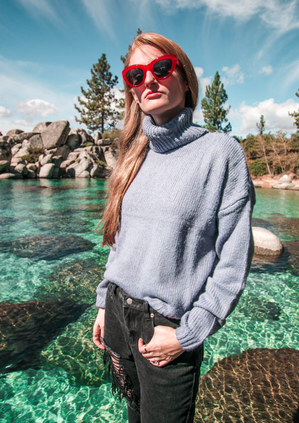 Blue Knit Sweater at Lake Tahoe