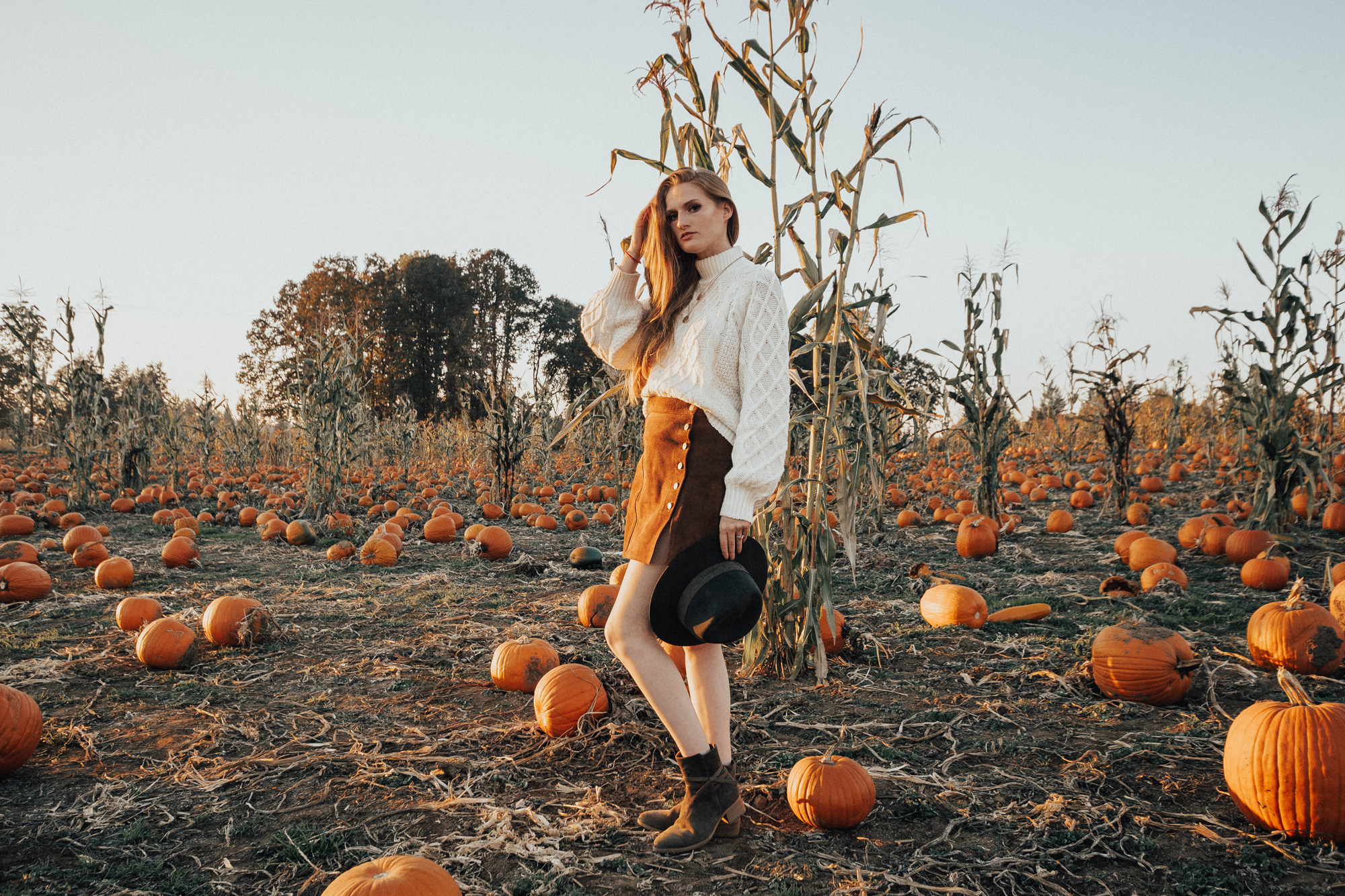Sweater and Skirt Outfit At The Pumpkin Patch