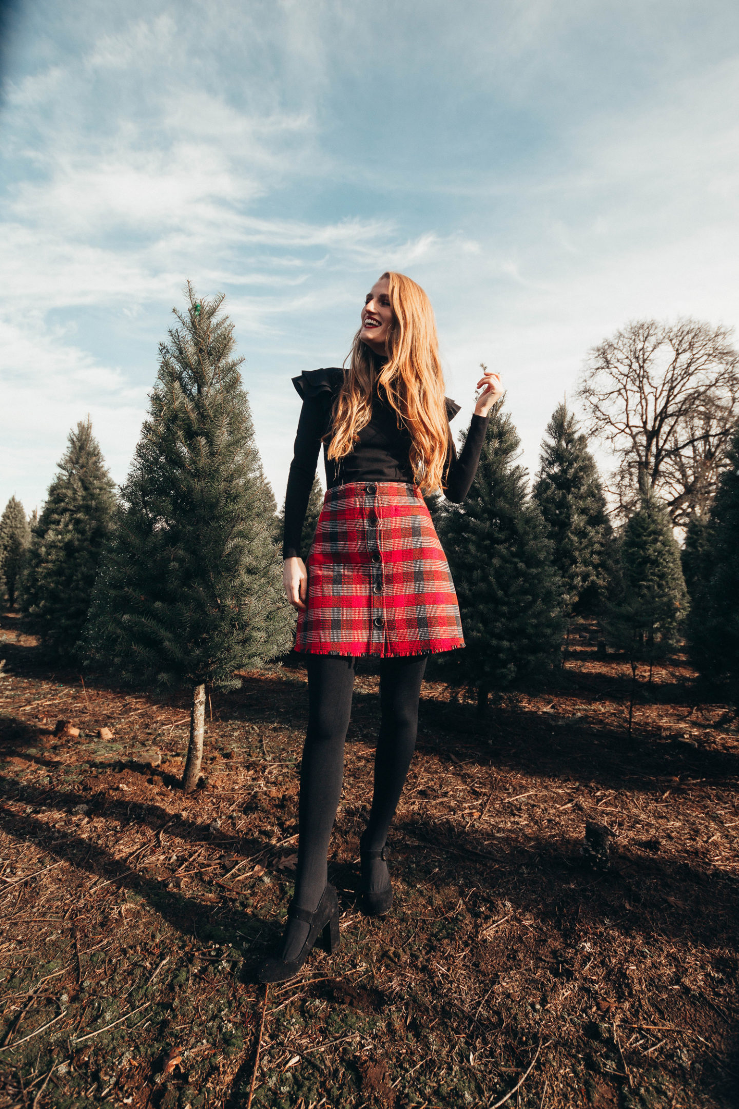 Rocking Around The Christmas Tree: Plaid Mini Skirt Winter Style Outfit Idea