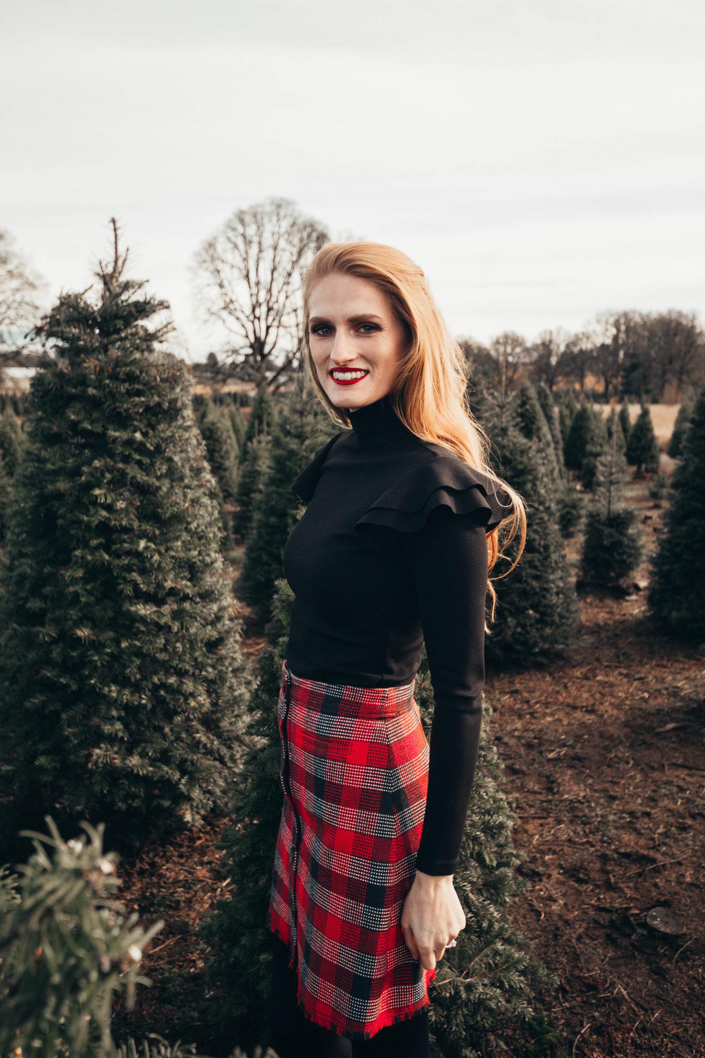Rocking Around The Christmas Tree: Plaid Mini Skirt Winter Style Outfit Idea