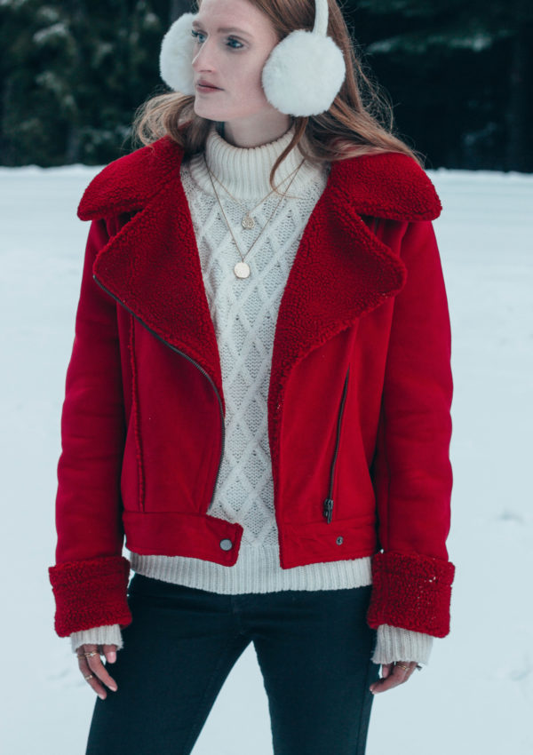 Red Shearling Jacket in a Winter Wonderland