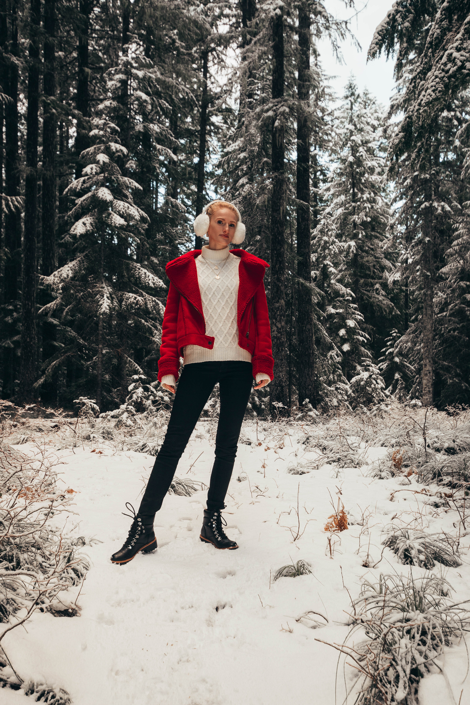 Red Shearling Jacket Winter Wonderland Snow Trees Style Outfit