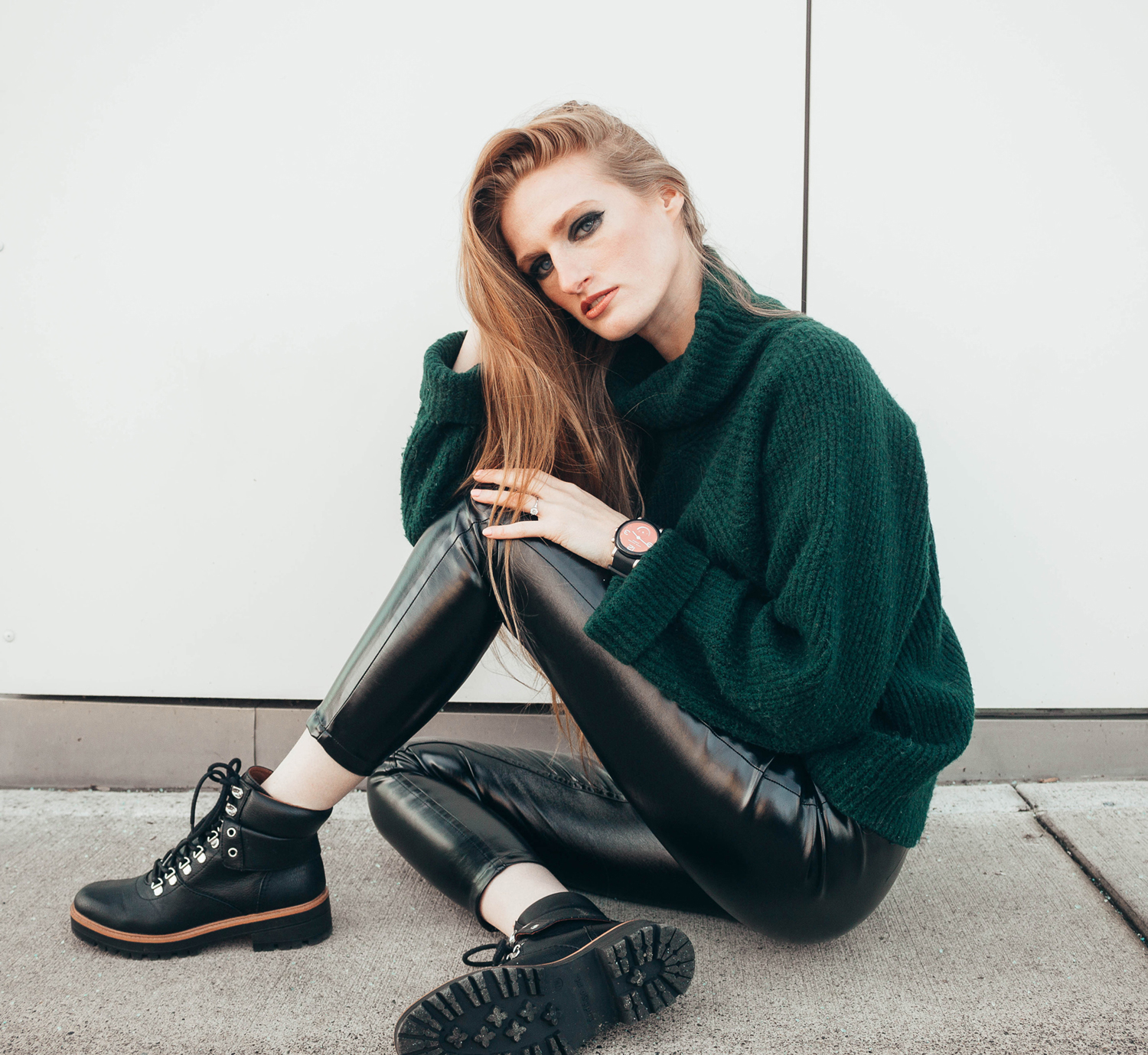 vinyl patent pants green turtle neck sweater xle nakd outfit style black