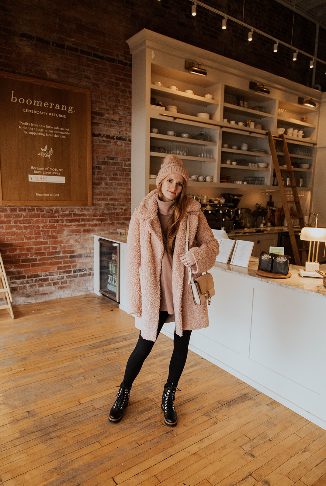 Pastel Pink Monochrome Outfit Coffee Shop Outfit Style