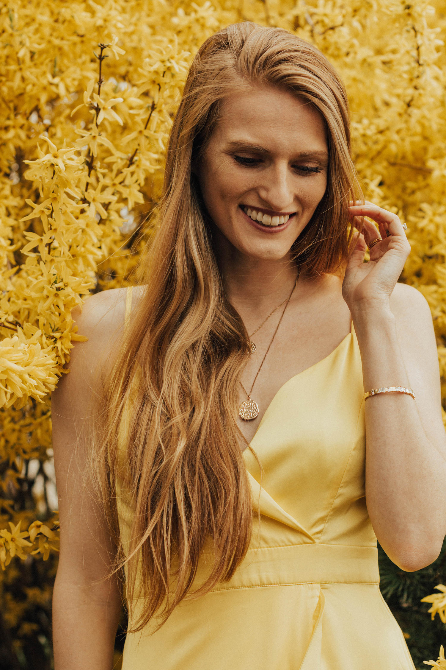 Yellow Dress for Spring and Summer by Laundry by Shelli Segal Forsythia Bush Cherry Blossoms Spring Bloom