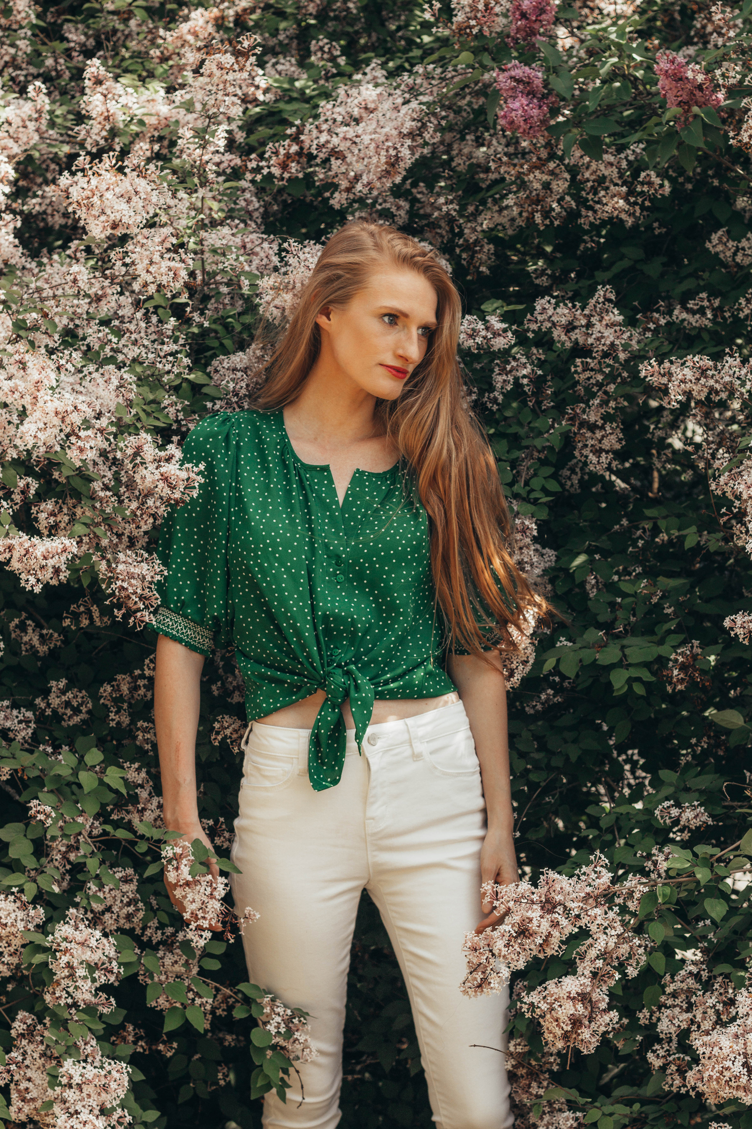 Hulda Klager Lilac Gardens Polka Dot Blouse