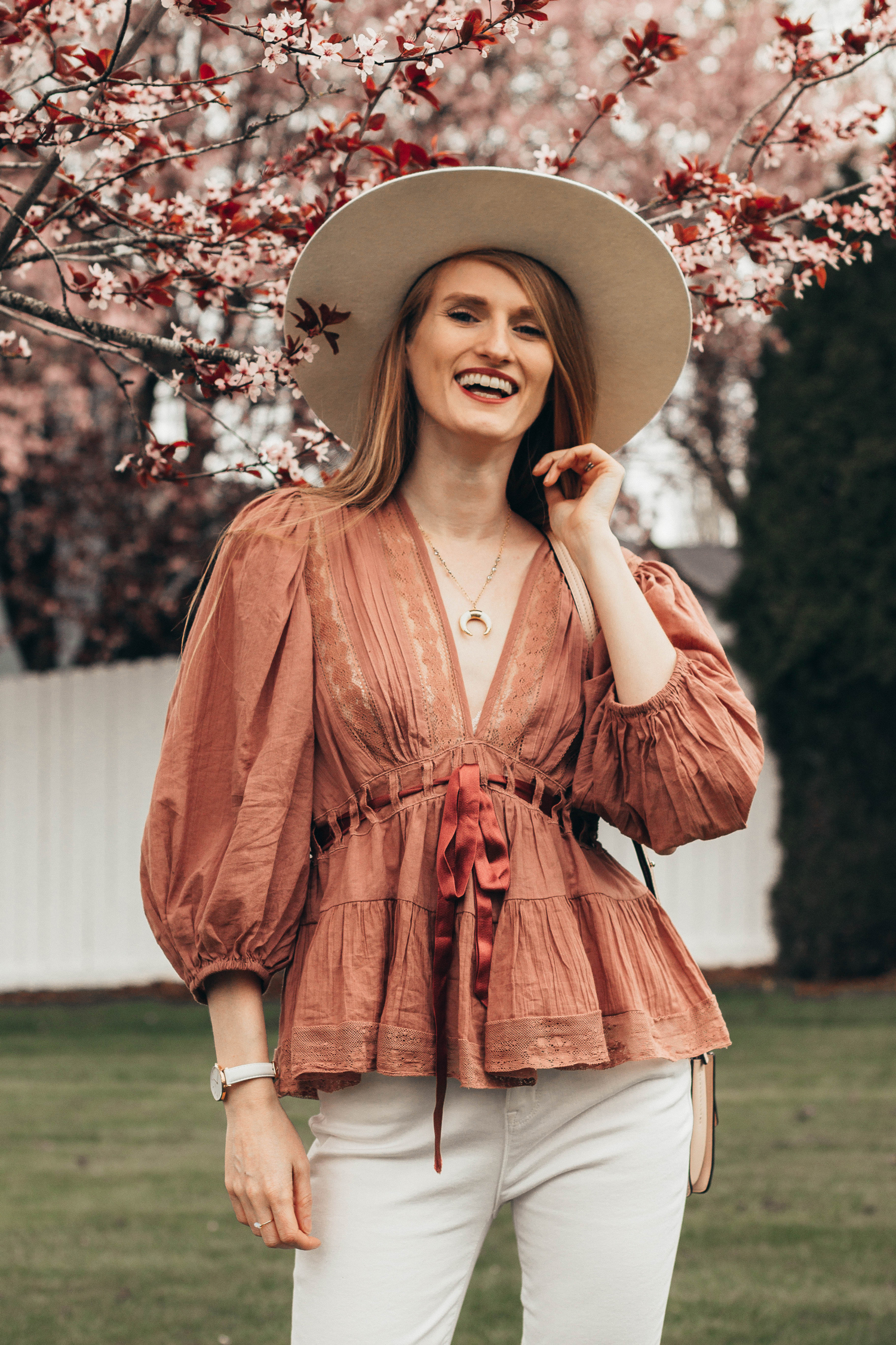 Free People Tunic Blouse Cherry Blossoms Favorite Romance