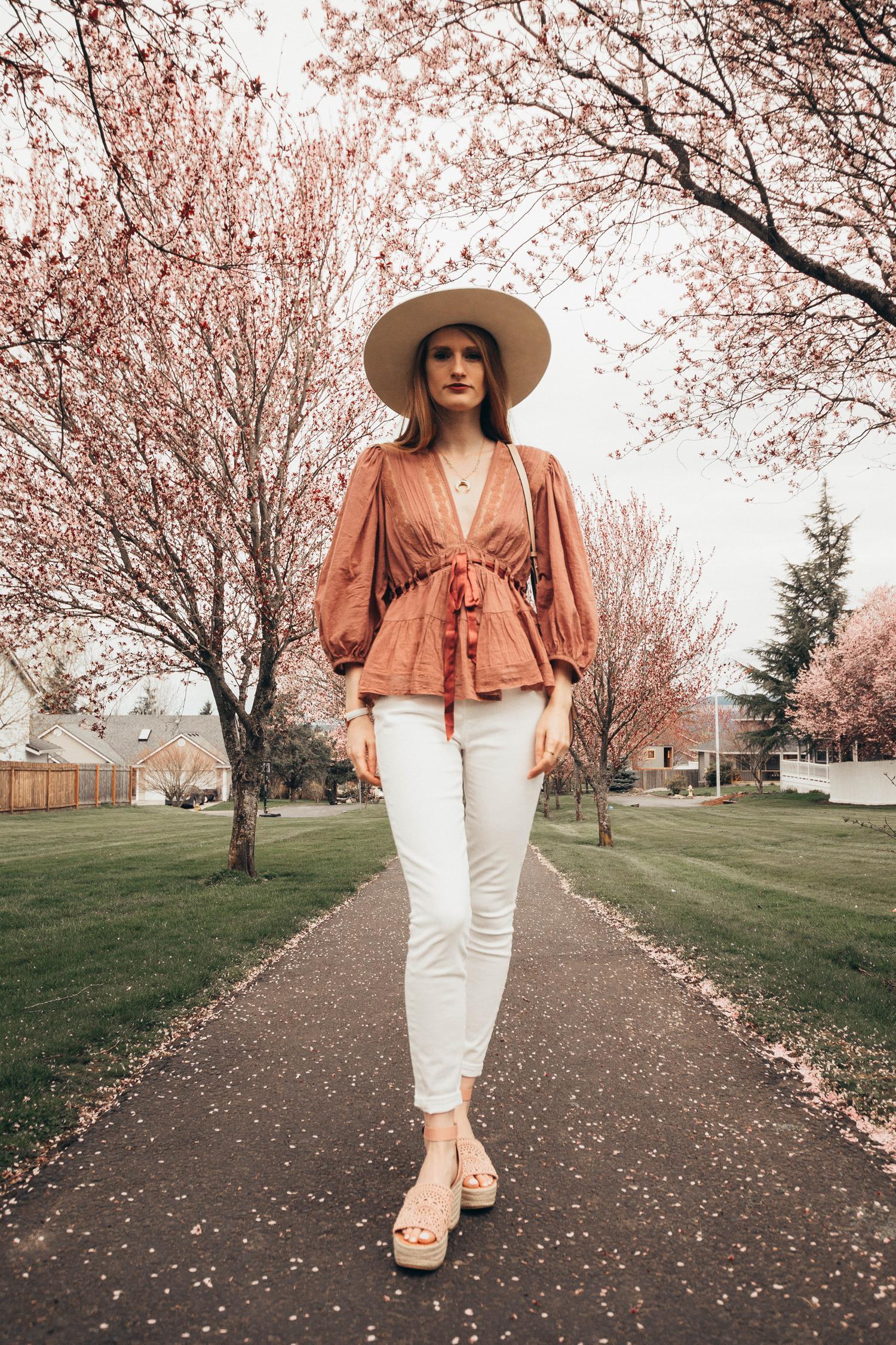 Free People Tunic Blouse Cherry Blossoms Favorite Romance