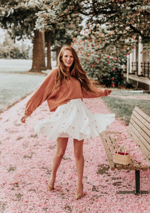 Floral Miniskirt & Cherry Blossom Petals