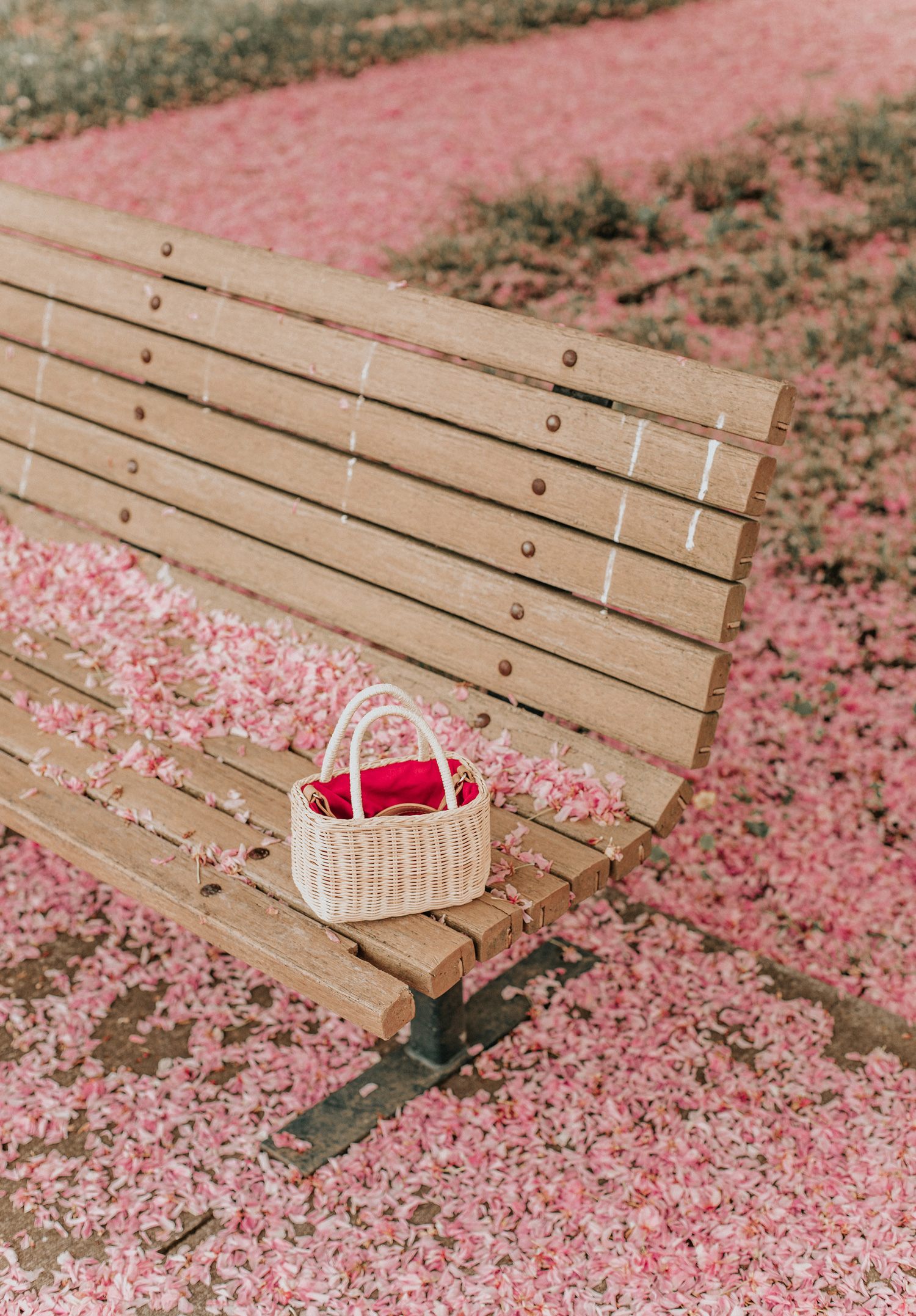 Straw basket bag cherry blossom petals pink