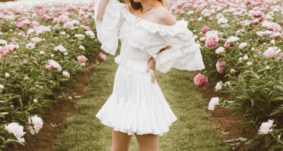 White Summer Outfit at the Peony Farm