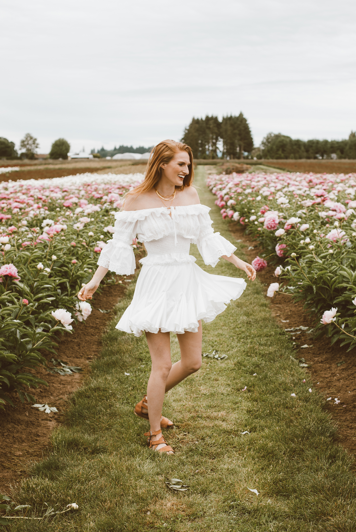 white summer dress peony farms